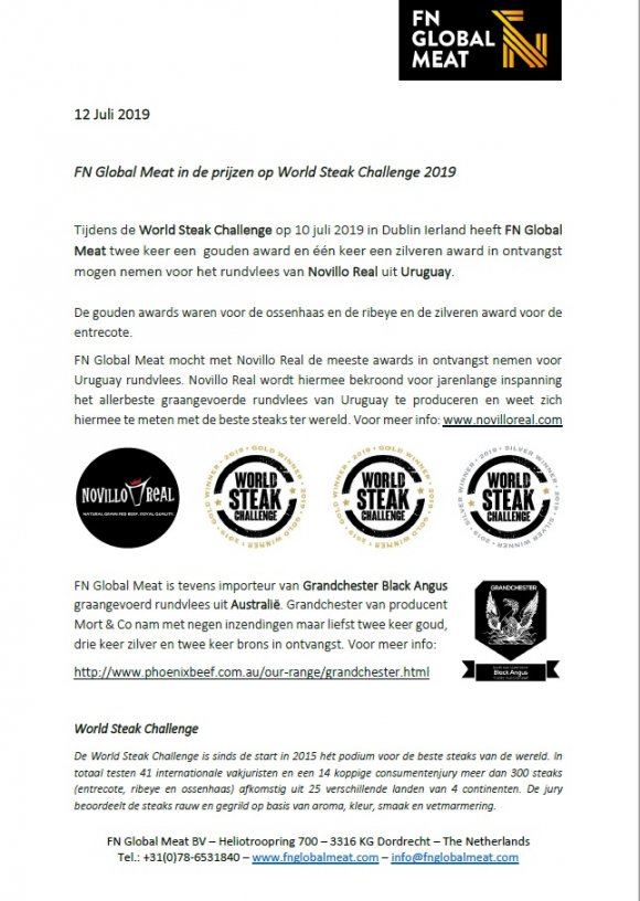 FN Global Meat in de prijzen op World Steak Challenge 2019